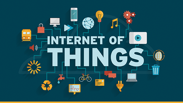 Internet of Things text with devices