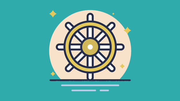 Ship's steering wheel to represent Kubernetes