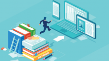 digital transformation -man in black suit jumps from stack of books to laptop