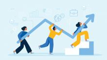 Man and woman run up stairs holding blue arrow going up. digital transformation
