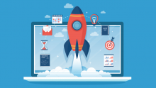 Rocket coming out of computer to represent moving faster in digital transformation